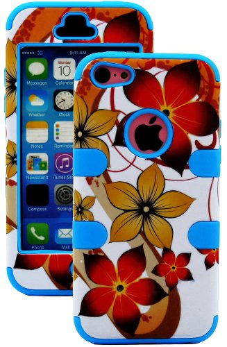 Mylife (Tm) Electric Sky Blue + Colorful Tropical Waves 3 Layer (Hybrid Flex Gel) Grip Case For New Apple Iphone 5C Touch Phone (External 2 Piece Full Body Defender Armor Rubberized Shell + Internal Gel Fit Silicone Flex Protector + Lifetime Waranty + Sea