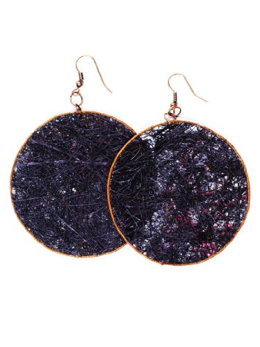 JousJous Black Eco Friendly Fair Trade Handmade Dangling Fique Chip Earrings, 3