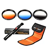 K&F Concept 3pcs 72mm Graduated Orange Blue Grey Lens Accessory Filter Kit Graduate Filters for Canon 7D 60D 70D 500D for Nikon D7000 D600 D300 D800 D7100 for Sony A77 NEX 5 DSLR Cameras + Cleaning Pen + Filter Bag Pouch