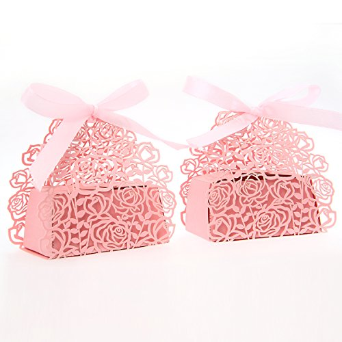 50 Pack Roses Flowers Laser Cut Favor Candy Box Bomboniere with Ribbons Bridal Shower Wedding Party Favors (Pink) - 1