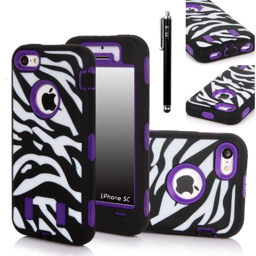 Iphone 5C Case, E Lv Iphone 5C Case - Heavy Duty Rugged Dual Layer Hybrid Armor Defender Case Cover For Iphone 5C With 1 Screen Protector, 1 Black Stylus And 1 Microfiber Sticker Digital Cleaner (Apple Iphone 5C) - Zebra Purple