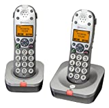 Save Price  Amplicomms Powertel 702 Big Button Twin Cordless Amplified DECT Telephone - Anthracite