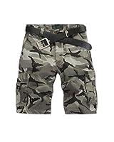 Aubig Homme Bermuda Pantalon court de Camouflage Désert Cargo Jeans Militaire - Taille asiatique 34