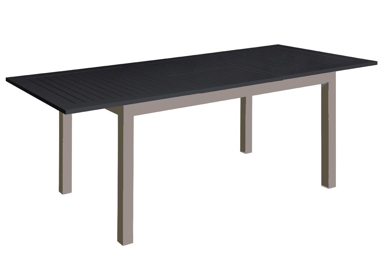 """Voll Aluminium Gartentisch 150/210 x 90 cm mit Synchronauszug von Doppler champagner schwarz """"Detroit"""" jetzt kaufen"""