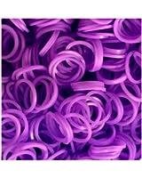 Rainbow Loom Bands - Lot de 300 élastiques en silicone violet, 1 crochet et 12 fermoirs pour Loom Bands