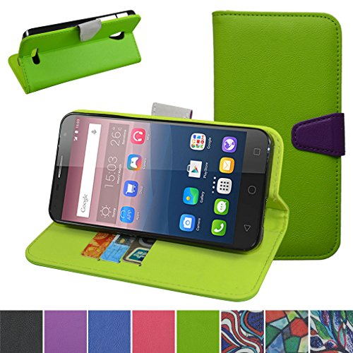Alcatel Pop 4 Plus Custodia,Mama Mouth Portafoglio custodia in PU di cuoio pelle con supporto carte di credito in Piedi caso Case per Alcatel One Touch Pop 4 Plus Smartphone,Verde
