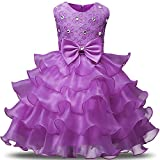 NNJXD Girl Dress Kids Ruffles Lace Party Wedding Dresses Size (120) 4-5 Years Light Purple