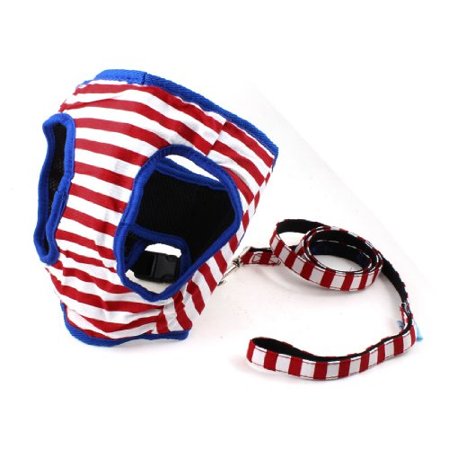 Blue White Striped Lobster Closp Pet Dog Puppy Harness Leash Size 5 front-836983