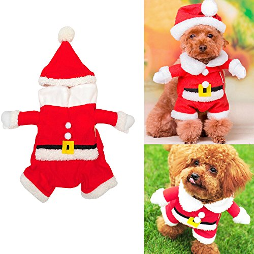 [Bolbove Pet Christmas Santa Claus Suit Costume with Hat for Small Dogs and Cats (Medium)] (Unique Santa Costumes)
