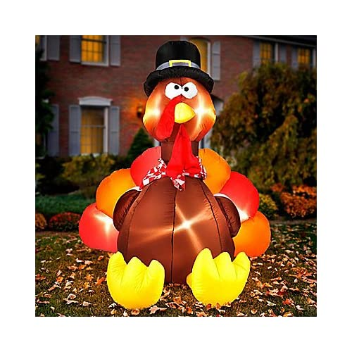6 Ft Tall Large Lighted Blow up Airblown Inflatable Turkey w/ Pilgrim Hat Fall Autumn Air Blown Thanksgiving Blow up Outdoor Decoration Yard Decor