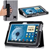MoKo Slim Cover Case for Samsung Galaxy Note 10.1 N8000 N8010 N8013 Tablet, BLACK (with Flip Stand, and Integrated Elastic Hand Strap)