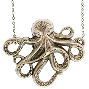 Octopus Necklace In Burnished Silver