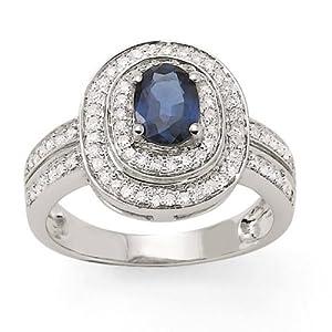 Bague Saphir - Or 750 Millièmes (18 Carats): 4.83 Gr - Diamant: 0.39 Carat qualité HSI - Saphir: 1.00 Carat