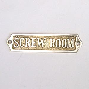 """Brass Screw Room Sign 5"""" Nautical Theme Rooms Nautical Home Decorating Ideas -  by Handcrafted Model Ships"""