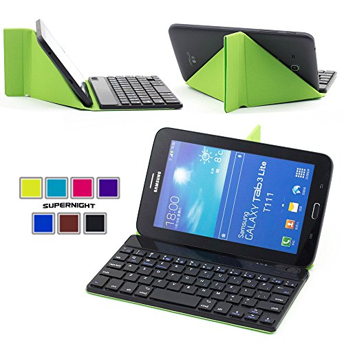 """Supernight 7 Inch 7"""" Universal Folding Protective Pu Leather Case Cover With Wireless Magnetic Removable Detachable Bluetooth 3.0 Abs Keyboard For Samsung Galaxy Tab 2 7.0 / Tab 3 7.0 / Asus Memo Pad Hd 7 / Nexus 7 / Nexus 7 Hd Support Android / Ios / Win"""