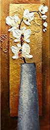 Phoenix Decor-Moth Orchid Elegant Modern Canvas Art Oil Paintings on Canvas for Wall Decorations Home Decorations Stretched and Framed Ready to Hang Abstract Canvas Wall Art Flowers Oil Paintings on Canvas