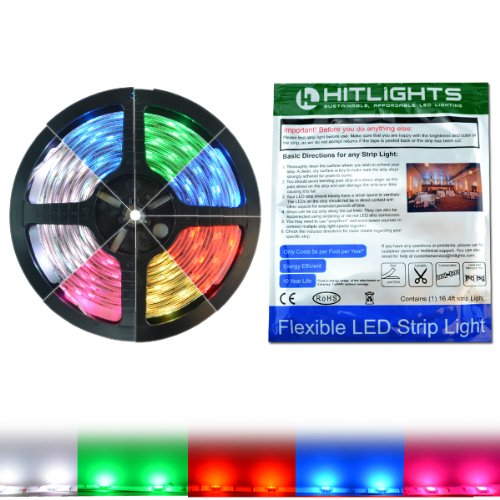 Hitlights Rgb Color Changing Smd5050 Led Light Strip - 150 Leds, 16.4 Ft Roll, Cut To Length - Color Changing, 149 Lumens Per Foot, Requires 12V Dc