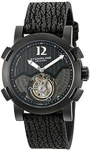 Stuhrling Original Men's 'Tourbillon' Mechanical Hand Wind Stainless Steel and Shark Skin Dress Watch, Color:Black (Model: 407A.335X1)