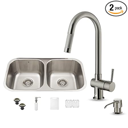VIGO 32 inch Undermount 50/50 Double Bowl 18 Gauge Stainless Steel Kitchen Sink with Gramercy Stainless Steel Faucet, Two Grids, Two Strainers and Soap Dispenser