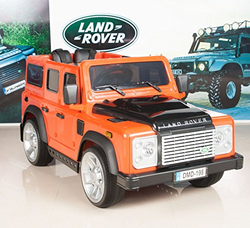 12v kids ride on truckcar land rover defender battery powered wheels with rc remote control orange