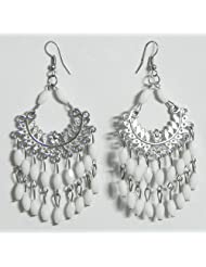 DollsofIndia White Beaded Jhalar Earrings - Beads And Metal - White