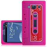 CNL PINK CASSETTE TAPE SILICONE SKIN COVER CASE FOR SAMSUNG i9300 GALAXY S3 MOBILE PHONE