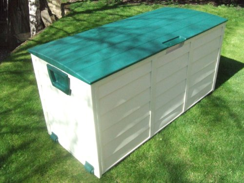 GARDEN STORAGE PLASTIC LOCKABLE BOX WITH LID AND WHEELS