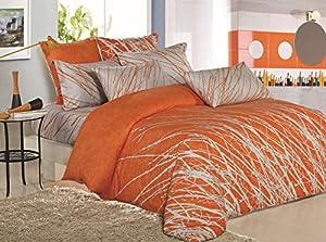 Tree 3pc 100% Cotton Duvet Cover Set: Duvet Cover and Pillowcases (Orange, King)