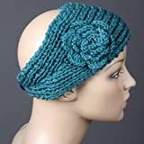 Handmade Knit Crochet Headband - Blue Color
