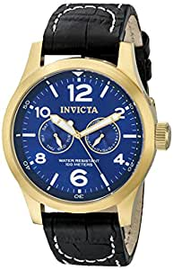 Invicta Men's 2 Eye Day Date 18k Gold Plated Stainless Steel Case Military Deep Blue Dial Watch 12173