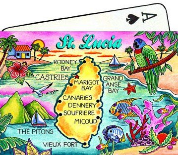 St.Lucia Map Collectible Souvenir Playing Cards
