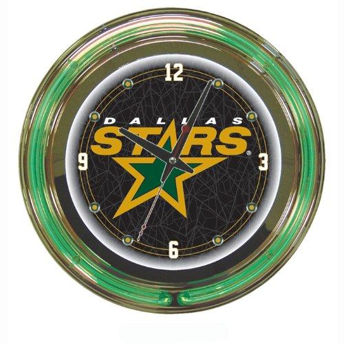 NHL Dallas Stars Neon Clock - 14 inch Diameter - Game Room Products > Neon Clocks > NHL - Hockey
