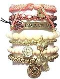 CAT HAMMILL ( キャットハミル ) オーストラリア の 勇敢 勇気 メッセージ が 詰まった チャーム ブレスレットセット ブレイブ セット 3 heart cross gold bracelet ブレスレット ハート クロス ゴールド ポーチ ゲット 海外 ブランド