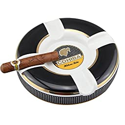 Dakoufish Round Cigars Large Ceramic Ashtray for Patio / Outdoor Use 4 Rests (Black)