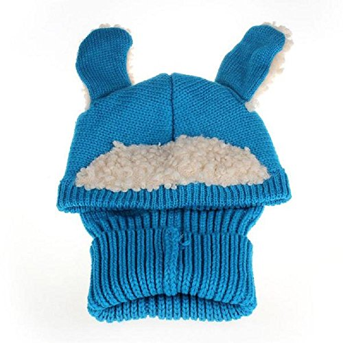 caps sciarpa cappuccio, FEITONG bambino di inverno dei ragazzi delle ragazze caldo di lana cappelli Coif (Blu)