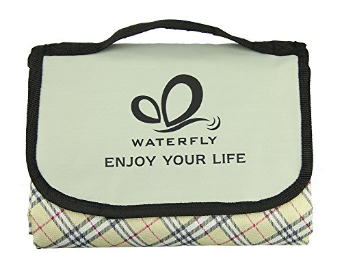 WATERFLY Beach Picnic Blanket Mat Camping Water Resistant Moistureproof Pad (60 X 70 in) (Grid Yellow)