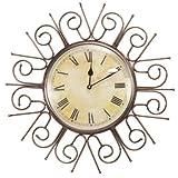 Decoritte Iron And Glass Antique Theme Wall Clocks (19.75 Cm X 19.75 Cm X 1.5 Cm, 83690)