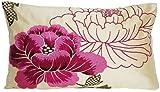 Pink Flower Throw Pillow Cover Emrodered Cream Silk Osborne and Little Botan Rectangle