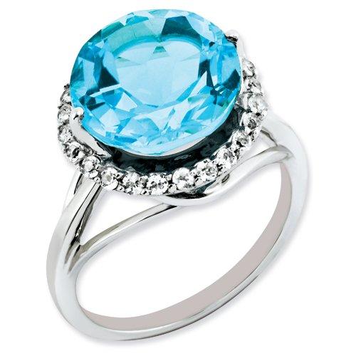 Sterling Silver Diamond & Blue Topaz Ring
