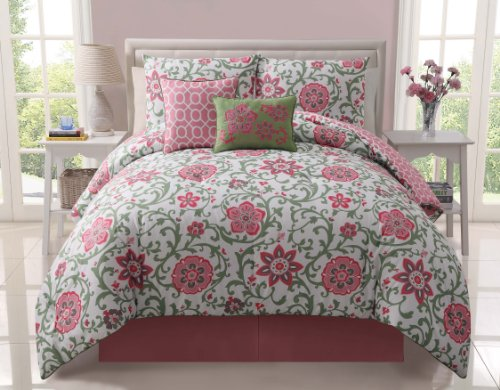 Full/Queen Reversible 5Pc Calista Pink Comforter Set Includes: One Comforter, Two Pillow Shams With Zipper And Two Decorative Pillows. 100% Microfiber front-1035139