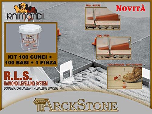 ARCKSTONE Kit Pavimento: 100 basi 3-12 mm + 100 cunei + 1 pinza pavimento Raimondi Levelling System RLS