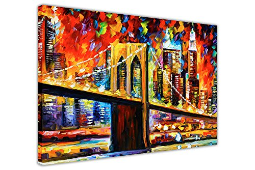 "Brooklyn Bridge New York City von Leonid Afremovs Ölgemälde Nachdruck auf Leinwand print Wandbilder Modern Art, canvas, 02- A3 - 16"" X 12"" (40CM X 30CM)"