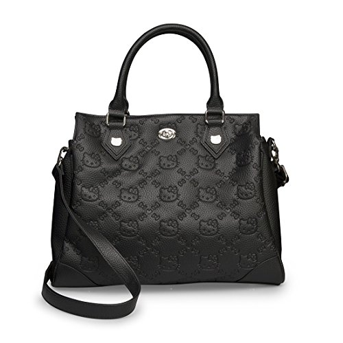 Hello Kitty Black Embossed Faux Leather Satchel Bag Purse - 1