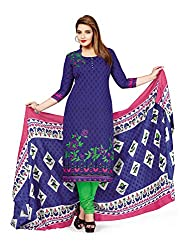 PShopee Blue & Green Printed Cotton Unstitched Salwar Suit Dress Material