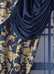 """All-In-One Curtain Set - 56""""W x 84""""L Curtains, Color Blue"""
