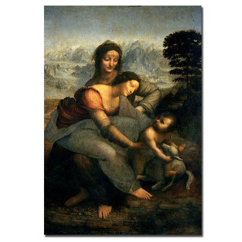 Trademark Fine Art Virgin And Child With Saint Anne By Leonardo Da Vinci Canvas Wall Art, 22X32-Inch front-789418