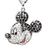 Disney Mickey Mouse Classic Sterling Silver Crystal Pendant Necklace: Disney Jewelry Gift by The Bradford Exchange