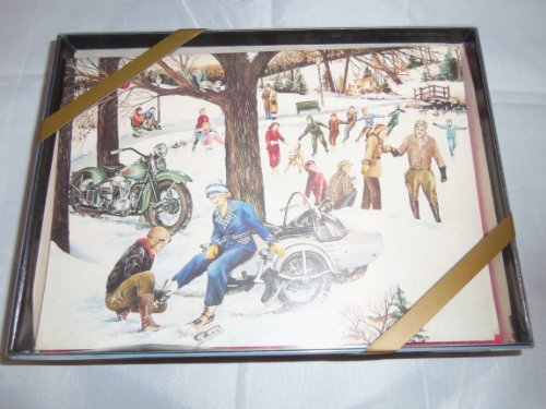 Harley Davidson Vintage Holiday Card Set Skating
