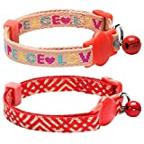 Blueberry Pet Pack of 1 Breakaway Cat Collar with Bell in Salmon Pink Geometry on Tomato Red Webbing