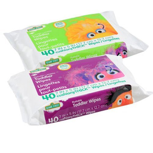 Sesame Street Flushable Toddler Wipes, 40-ct. Bonus Packs! (Set Of 2) - 1